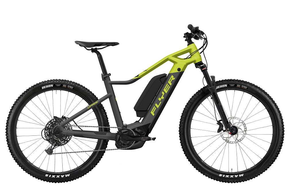 FLYER_E-Bikes_Uproc1_450_Hardtail_AnthraciteLimeGreenMatt_DualBattery