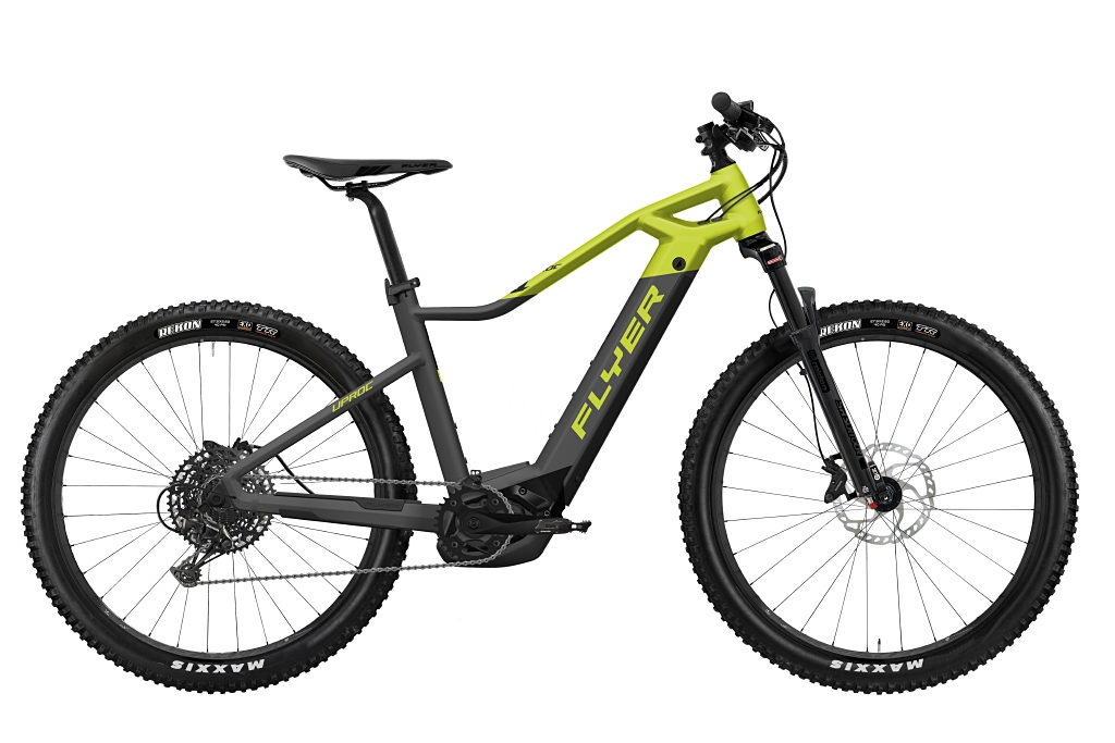 FLYER_E-Bikes_Uproc1_450_Hardtail_AnthraziteLimeGreenMatt