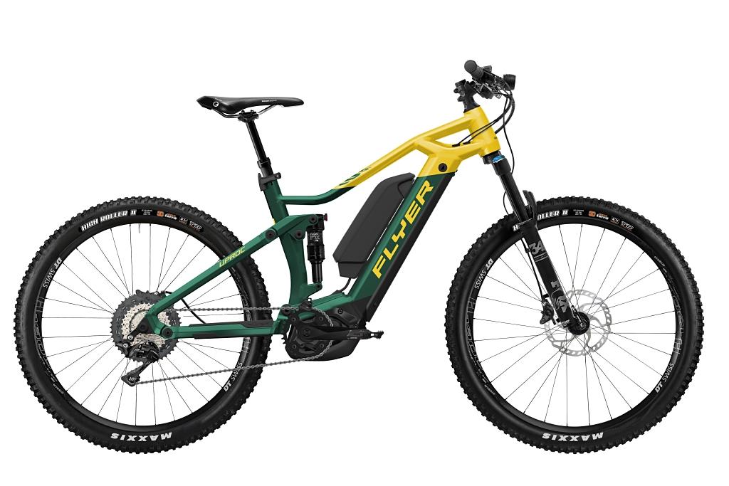FLYER_E-Bikes_Uproc3_870_Fullsuspension_OpalGreenSunflower-Dual-Battery