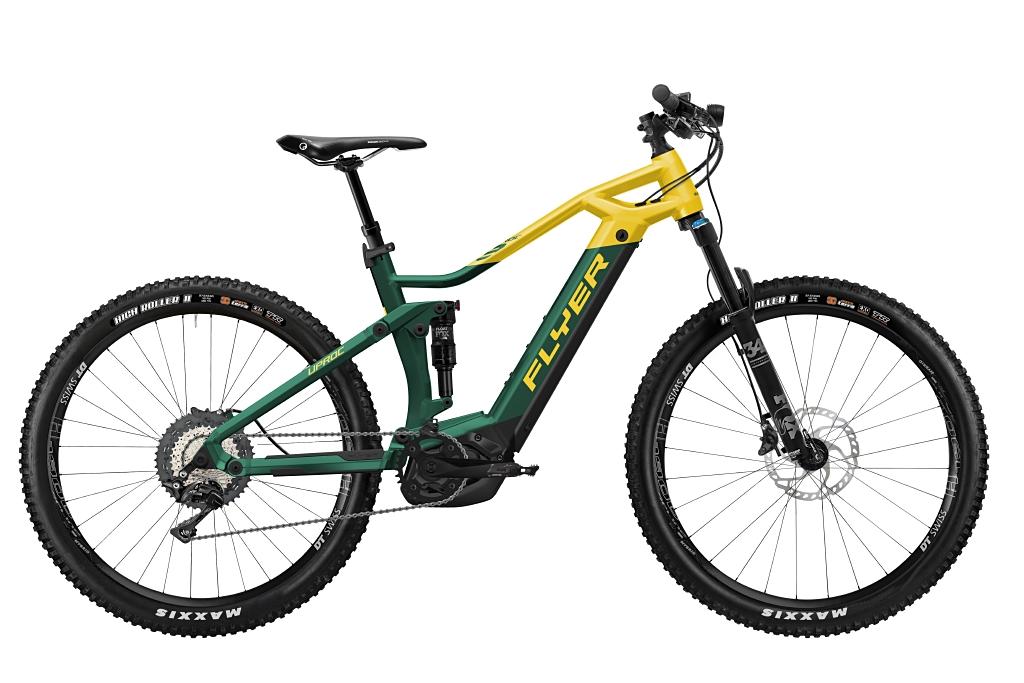 FLYER_E-Bikes_Uproc3_870_Fullsuspension_OpalGreenSunflower