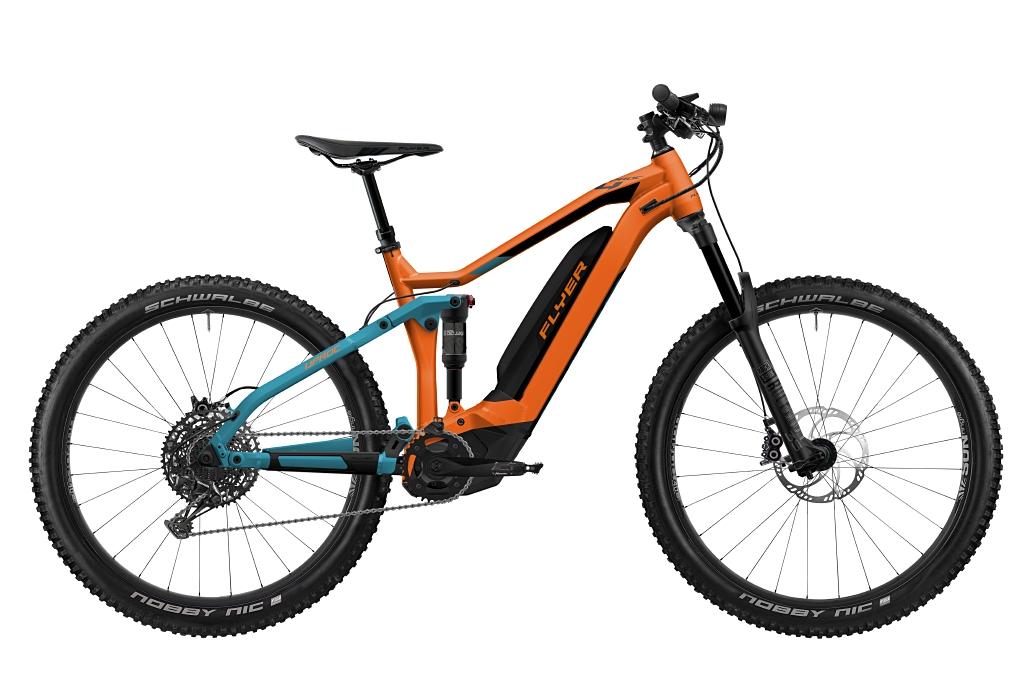 FLYER_E-Bikes_Uproc4_650_Fullsuspension_TangerineOrangeTealBlue