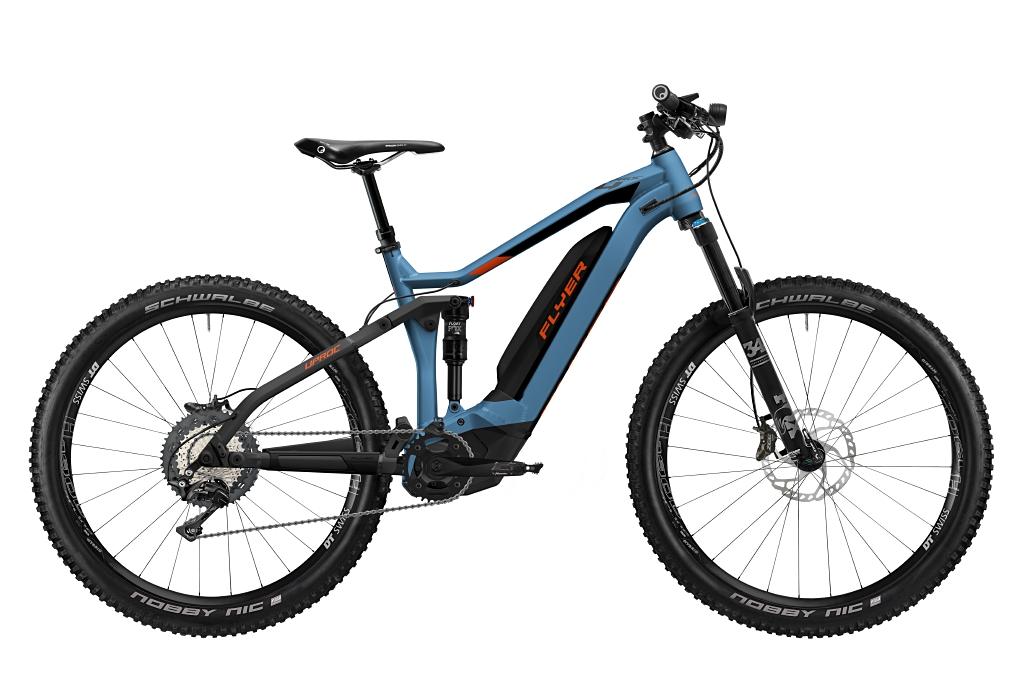 FLYER_E-Bikes_Uproc4_870_Fullsuspension_JeansBlueMagmaRedMatt